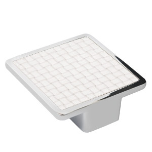 tirador asa cuadrada polipiel trenzada blanca mate herrajes mueble diseño moderno n131
