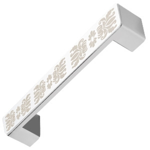 tirador asa cromo con grabado laser damasco herrajes mueble diseño moderno n77