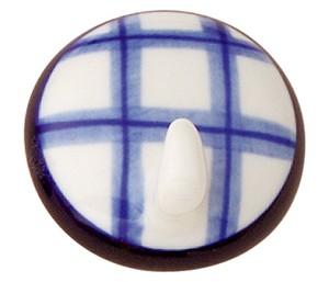 percha colgador adhesiva porcelana pintada a mano cuadros azul 305m6