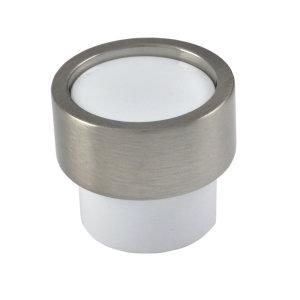 pomos cilindro niquel cepillado y metacrilato blanco piston mueble 0009035v0122