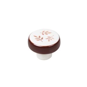 bouton porcelain feuilles brun poignee meuble ceramique artisanat 336ma