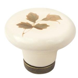 tirador pomo porcelana beige con flor marron base cuero herrajes mueble clasico n638