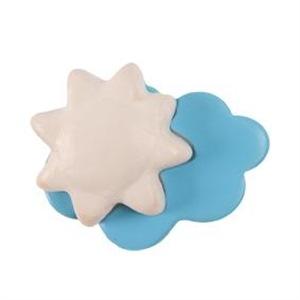 pomo tirador nube azul con sol blanco ceramica mate 381a1