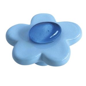 pomos tiradores flor ceramica azul gema cristal mueble infantiles nino 388aa