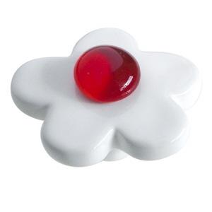 pomo tirador flor ceramica blanca con gema cristal rojo 388rj