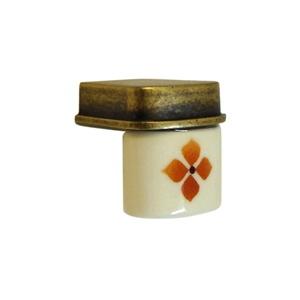 pomos tiradores porcelana flor marron herrajes bronce mueble clasico 398m1