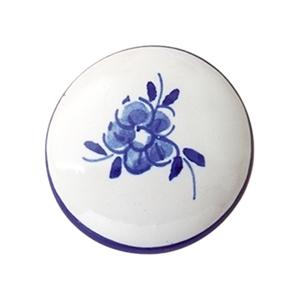 pomos tiradores ceramica flor azul pintada a mano 334 403c1