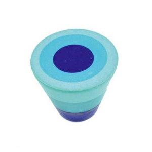 poignee bouton bleu cercles bois painted a main 432az