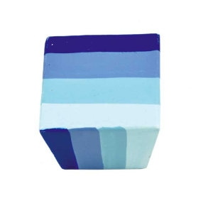 poignee bouton carre rayures bleues bois painted a main 433az