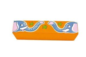 asa tirador horizontal elefante madera pintada a mano 437a2