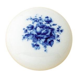 tirador pomo deporcelana flor azul herrajes mueble clasico n590