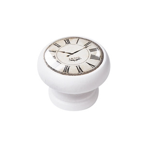 bouton meuble vintage bois blanc horloge blanc 450bl02