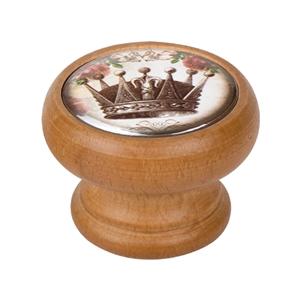 bouton meuble vintage bois couleur miel couronne 1 450hm54