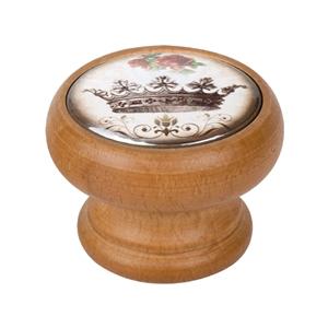 bouton meuble vintage bois couleur miel couronne 2 450hm55