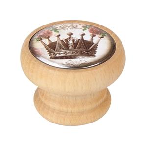 bouton meuble vintage bois couleur naturelle couronne 1 450hn54