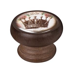 bouton meuble vintage bois couleur noyer couronne 1 450ng54
