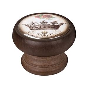 bouton meuble vintage bois couleur noyer couronne 2 450ng55