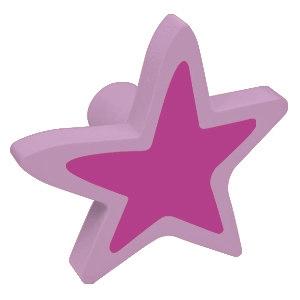 tirador pomo de mueble estrella madera lacada lila para comoda cajonera infantil 467li2