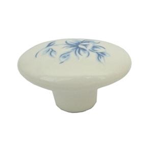 pomo tirador porcelana con calca flor azul 32x23mm 467p5