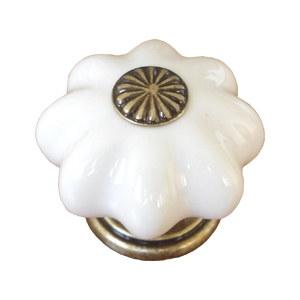 poignee bouton etoile blanc dore 483j0
