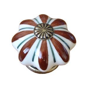 poignee bouton etoile blanc marron 483j5