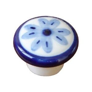 poignee bouton rond surligne fleur bleue 234 493j6