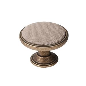 pomo mueble metal 37mm cuero vibro con tela antimanchas arena bouton metal pour meuble 37mm vieux laiton avec tissu sable