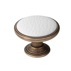 pomo mueble metal 37mm cuero vibro con piel sintetica blanca bouton metal pour meuble 37mm vieux laiton avec peau synthetique blanc