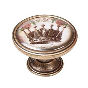 vintage cabinet knob antique brass crown 1 550br54
