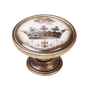 vintage cabinet knob antique brass crown 2 550br55