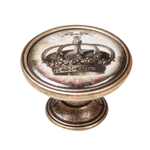 vintage cabinet knob antique brass crown 3 550br56