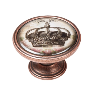 vintage cabinet knob antique copper crown 3 550cb56
