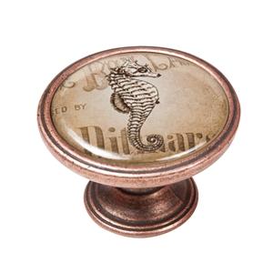 pomo mueble vintage cobre viejo caballito mar 550cb58