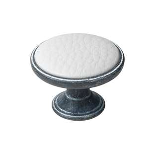 pomo mueble metal 37mm oxido decape con piel sintetica blanca bouton metal pour meuble 37mm oxyde decape avec peau synthetique blanc