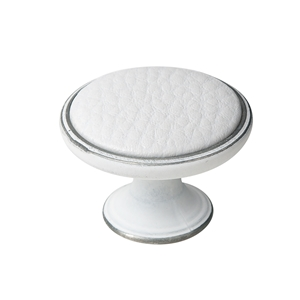 metal cabinet knob 37mm pat. silver with synthetic leather white bouton metal pour meuble 37mm argent patine avec peau synthetique blanc