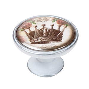 vintage cabinet knob patinated silver crown 1 550pb54
