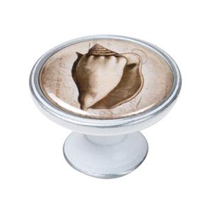 pomo mueble vintage plata con patina blanca concha mar 550pb59