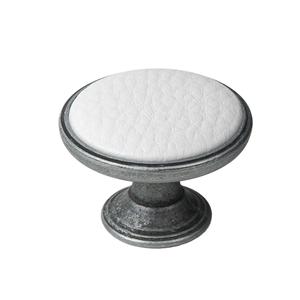 pomo mueble metal 37mm plata vieja con piel sintetica blanca bouton metal pour meuble 37mm argent vieilli avec peau synthetique blanc