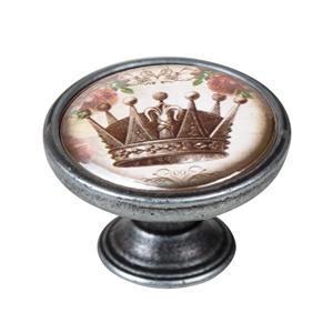 vintage cabinet knob old silver crown 1 550pt54