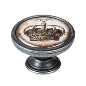 vintage cabinet knob old silver crown 3 550pt56