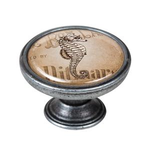 pomo mueble vintage plata vieja caballito mar 550pt58