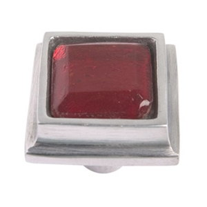 aluminium square handle knob with red glass 550rj