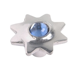 pomo tirador estrella de aluminio con cristal azul 552az
