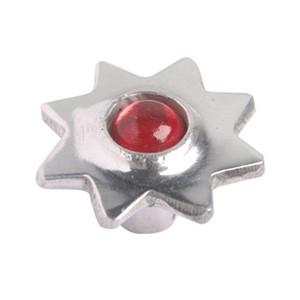 pomo tirador estrella aluminio con cristal rojo 552rj