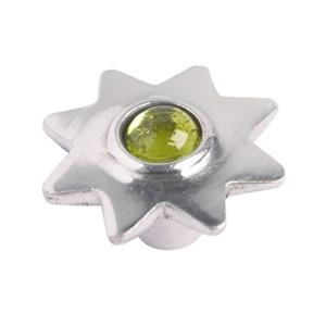 pomo tirador estrella de aluminio con cristal verde 552ve