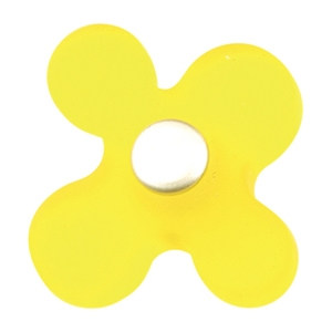 yellow resin with dull chrome fitting kids children furniture handle 608am