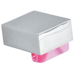 pomos tiradores metacrilato rosa con metal cromo puerta mueble 670rsx