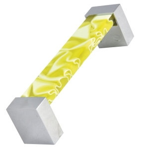 metacrylate nest handle yellow colour with crhome base furniture handle 476 671amx