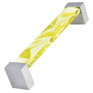 metacrylate nest handle yellow colour with crhome base furniture handle 672amx