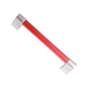 pomo tirador metacrilato rojo mate con cromo mate 96mm 676rj7
